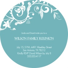 Blue Floral Elegant Family Reunion Invitaiton