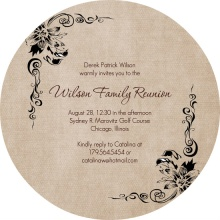 Formal Linen Texture Family Reunion Invitation