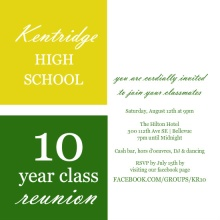 Color Blocks 10 Year Class Reunion Invitation