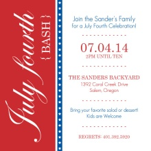 Red and Blue Scripted July fourth Invite