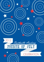 Modern Blue, Red and White Fireworks and Stars 4th of July Invitation