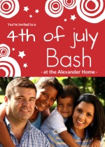 Stars and Circles Red Fourth of July Invitation
