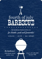 Navy Western BBQ Fourth of July Invitation