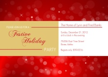 Red Bubbles and Lights Holiday Party Invitation
