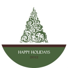Elegant Green Holiday  Tree Holiday Card
