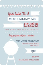 Modern BBQ and Flags Memorial Day Invitation