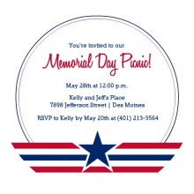 Red and Blue Circle and Star Memorial Day Invitation