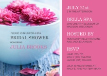 Pink Floating Flowers Spa Day Bridal Shower Invite