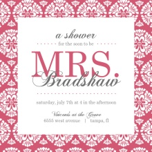 Pink Damask Bridal Shower Invite