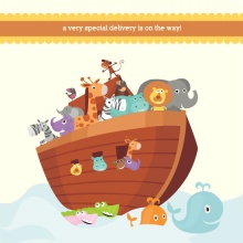 Noah's Ark Gender Neutral Baby Shower Invitation