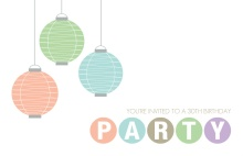 Pastel Hanging Lanterns 30th Birthday Invitation