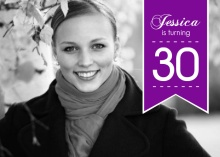 Purple Banner 30th Birthday Invitation