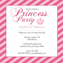Pink Princess Crown Girls Birthday Party Invitation