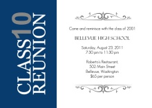 Vertical Blue Stripe High School Reunion Invitation