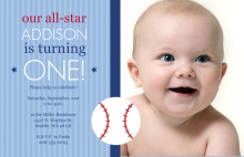 All Star Baby Baseball First Birthday Invitation
