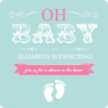 Pink and Teal Vintage Girl Baby Shower Invitation