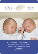 Twice the Love Leaf Twin Boys Birth Announcement