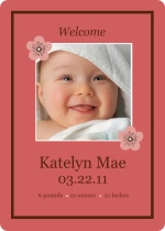 Pink and Brown Flower Birth Announcement