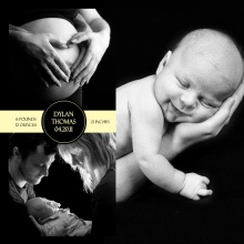 Black Timeless Timeline Photo Birth Announcement