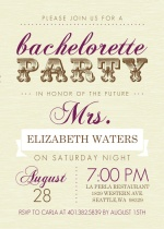 Cream and Brown Western Bachelorette Party invitation