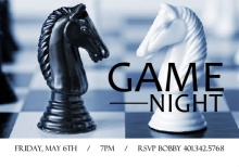 Chess Board Game Night Invitation