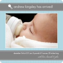 Blue and Gray Pinstripe Boy Birth Announcement
