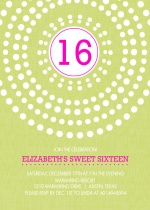 Bright Pink and Green Circle Burst Sweet Sixteen Invitation