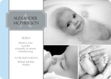 Gray Name Plate Photo Birth Announcement