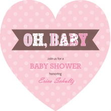 Pink Polka Dot Heart Girl Baby Shower Invitation