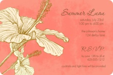 Pink Sophisticated Hibiscus Luau Invitation