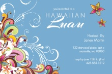 Swirly Hibiscus Blue Luau Invite