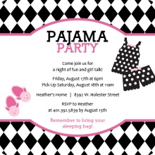 Harlequin Pattern Pink and Black Pajama Slumber Party Invitation