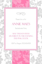 Pink and Gray Elegant Floral Bachelorette Party Invite