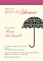 Damask Umbrella Bridal Shower Invite