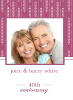 Hanging Willow Pink and White 40th Anniversary Invitation