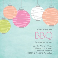 Chinese Lanterns Summer BBQ Invitation