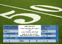 50 Yard Line Ticket Bachelor Party Invitation
