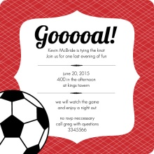 Red and Black Soccer Stripes Bachelor Party Invitation