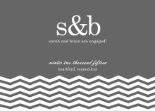 Slate Gray Monogram Engagement Announcement