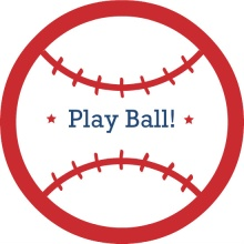 Red and Blue Baseballs Birthday Party Invitation