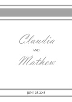 Elegant Gray and White Striped  Wedding Program