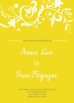 Bright Yellow and White  Wedding Program