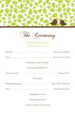 Brown and Green Love Birds  Wedding Program