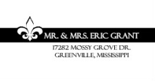Black and White Fleur De Lis  Wedding Address Label