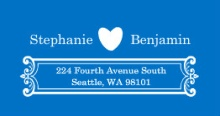 Blue and White Contemporary  Address Label