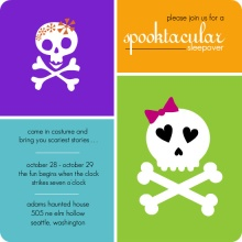 Cute Skull and Crossbones Sleepover Halloween Party Invite