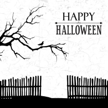 Black and White Haunted House Halloween Card