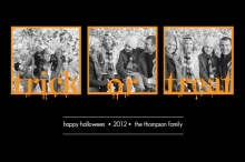 Black Trick or Treat Three Photo Halloween Card