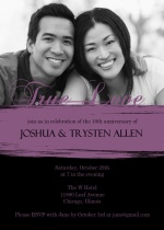 Black and Purple Painted Anniversary  Invitaton