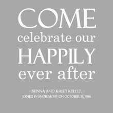 Silver Anniversary Happily Ever After  Anniversary Party Invitation